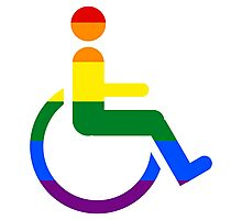 Gay lesbian disabled wheelchair pride flag Photographic Print