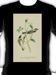 James Audubon Vector Rebuild - The Birds of America - From Drawings Made in the United States and Their Territories V 1-7 1840 - Black Throated Grey Wood Warbler T-Shirt