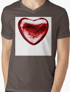 Cracked Red Heart Mens V-Neck T-Shirt