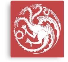 Targaryen, Sigil White Canvas Print