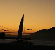 Silence is.... The Golden Gate Bridge at Sunset by heidi-bee