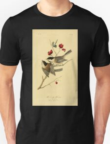 James Audubon Vector Rebuild - The Birds of America - From Drawings Made in the United States and Their Territories V 1-7 1840 - Black Cap Titmouse T-Shirt