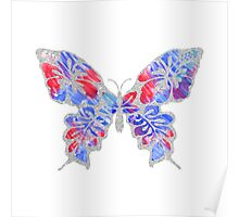 Red, White, and Blue Watercolor Butterfly Poster