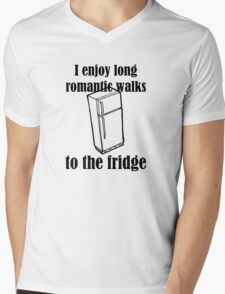 I Enjoy Long Romantic Walks To The Fridge Mens V-Neck T-Shirt