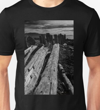 Driftwood Logs in Black and White Unisex T-Shirt