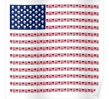 American flag skulls and bullets Poster