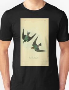 James Audubon Vector Rebuild - The Birds of America - From Drawings Made in the United States and Their Territories V 1-7 1840 - Violet Green Swallow Unisex T-Shirt