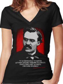 Friedrich Nietzsche Philosophy Quotation Women's Fitted V-Neck T-Shirt