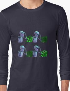 cool skeleton looking at plant Long Sleeve T-Shirt