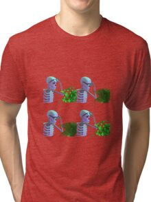 cool skeleton looking at plant Tri-blend T-Shirt
