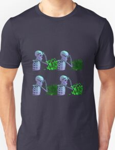 cool skeleton looking at plant Unisex T-Shirt