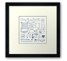 set cute retro sea objects collection. vector illustration Framed Print