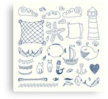 set cute retro sea objects collection. vector illustration Canvas Print