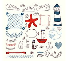 set cute retro sea objects collection. vector illustration Photographic Print
