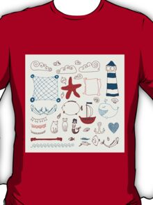 set cute retro sea objects collection. vector illustration T-Shirt