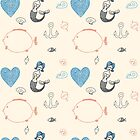 Seamless sea pattern. Vector illustration with marine elements. by OlgaBerlet