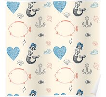 Seamless sea pattern. Vector illustration with marine elements. Poster