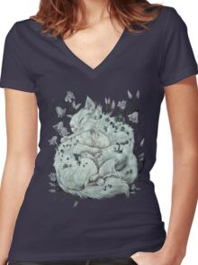 The Sleepers in that Quiet Earth Women's Fitted V-Neck T-Shirt