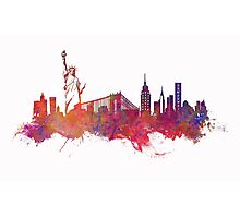 New York city Skyline red Photographic Print