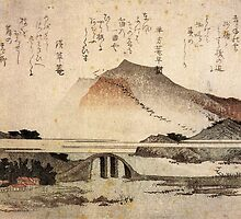 'Mountain Landscape with a Bridge' by Katsushika Hokusai (Reproduction) by Roz Abellera Art Gallery