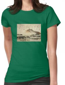 'Mountain Landscape with a Bridge' by Katsushika Hokusai (Reproduction) Womens Fitted T-Shirt