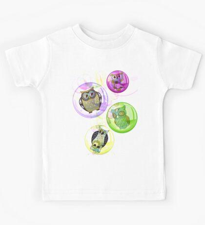 4 Bubbly Owls - Fantastic Owl Art / Tshirt Design Kids Tee