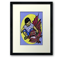 A Boy and His Fish Framed Print