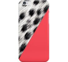 Coral Pink With Black and White Snow Leopard Print iPhone Case/Skin