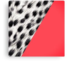 Coral Pink With Black and White Snow Leopard Print Canvas Print