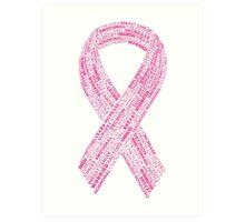 Breast Cancer Ribbon Typography Art Print