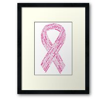 Breast Cancer Ribbon Typography Framed Print