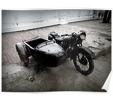 Old bike with sidecart. Poster