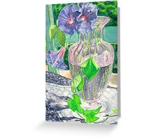 Rescued vase on distressed chair Greeting Card
