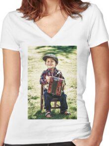 retro boy Women's Fitted V-Neck T-Shirt
