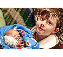 Portraits: Roman with his baby brother Photographic Print