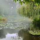 """My interpretation of Monet's """"Water-Lily Pond and Willow"""". by Larry Lingard-Davis"""