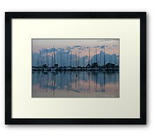 Pink and Blue Peace - Still Sailboat Reflections  Framed Print