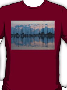 Pink and Blue Peace - Still Sailboat Reflections  T-Shirt