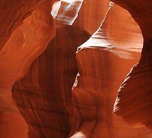 orange rocks at antelope canyon by jon  daly