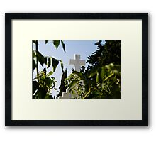 Stone cross in a catholic cemetery, Portugal Framed Print