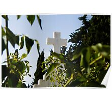 Stone cross in a catholic cemetery, Portugal Poster