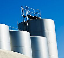 Stainless steel tanks in a winery, Portugal by mrfotos
