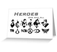 Heroes Headshots Landscape with Logos (Dark) Greeting Card