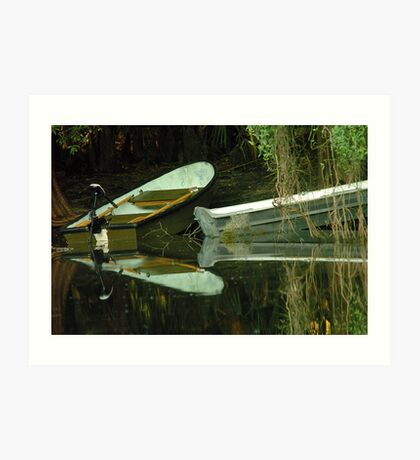 Two boats on shore Art Print