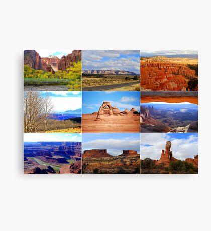 Collage of Utah Landscape Icons Canvas Print