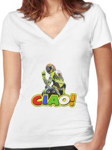 rossi ciao finger Women's Fitted V-Neck T-Shirt