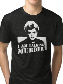 stencil Murder She Wrote Deadly Lady Tri-blend T-Shirt