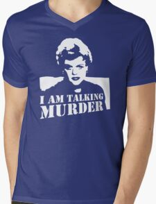 stencil Murder She Wrote Deadly Lady Mens V-Neck T-Shirt