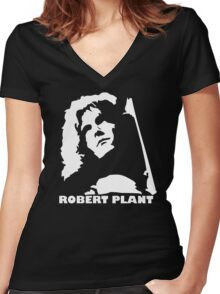 stencil Robert Plant Women's Fitted V-Neck T-Shirt