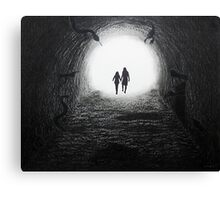 Walking Through the Darkness Towards the Light Canvas Print